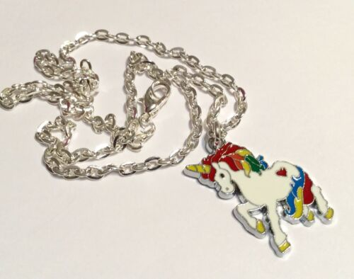 Unicorn Necklace Magical Rainbow White Enamel Charm Pendant Silver Plated Chain