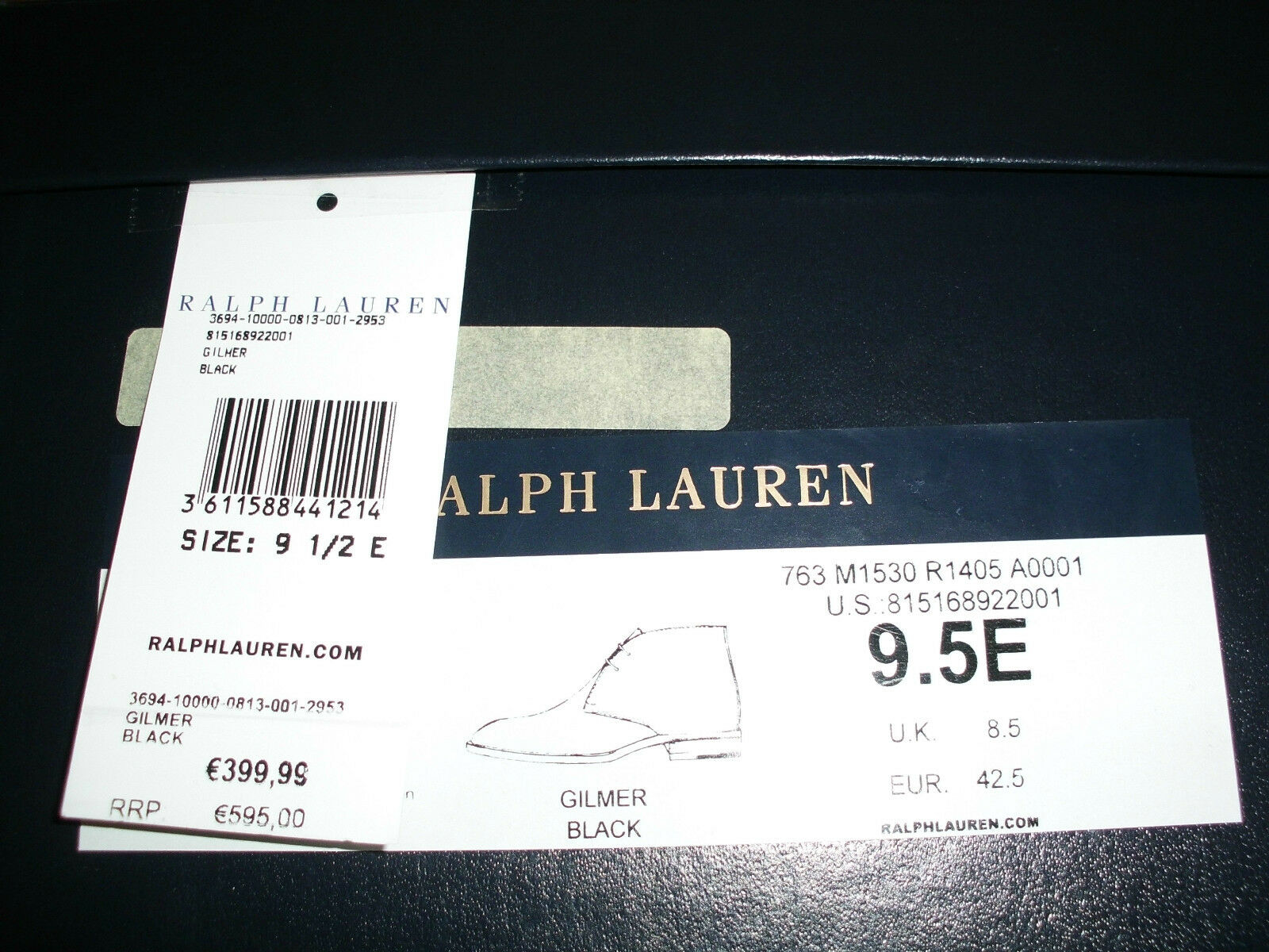 POLO RALPH LAUREN PURPLE LABEL Stiefel GR42,5 STIEFELETTEN SCHWARZ LEDER GR42,5 Stiefel cbb9f6