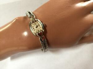 Vintage-Gruen-Precision-Swiss-Armbanduhr-fuer-Damen-weissgold-10-K-Gold-filled