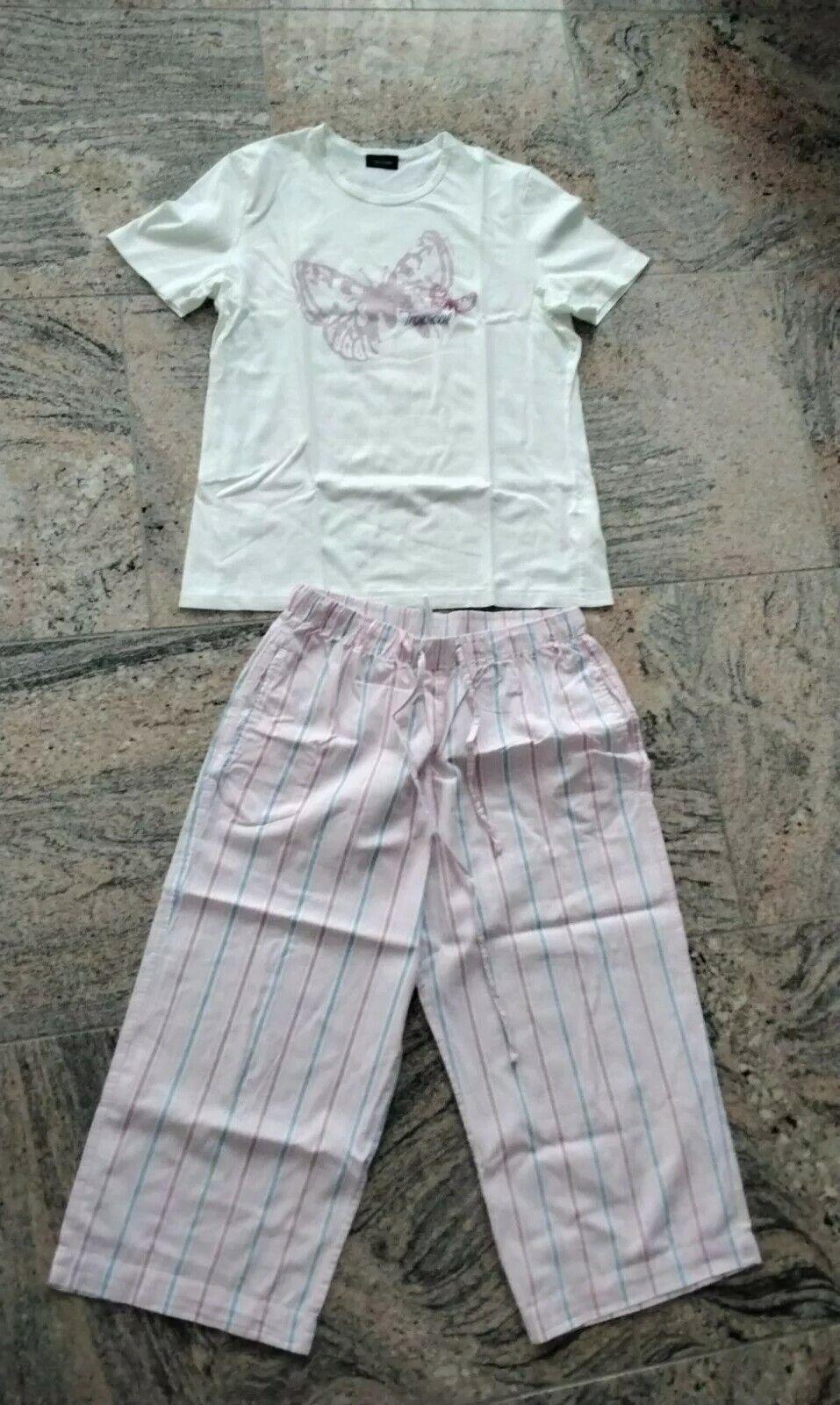 Damen Seidensticker Schlafanzug Pyjama 3/4 Hose Größe 38 Baumwolle