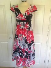 PER UNA @ M&S lovely white grey black & red print 100% LINEN dress UK 8 Long