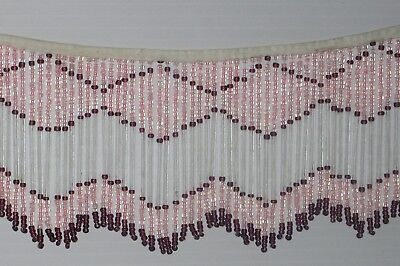 Vintage Glass Beaded Fringe Pink Clear Purple New Old Stock Craft Trim Lamp 3 feet