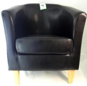 Armchair TUB Chair Sofa Black Bonded Leather fice Reception Dining