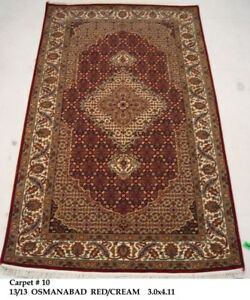 Hand Knotted Carpet 3x5 Vivid Red Wool Silk 36 X 58 In 4 Sale Rug