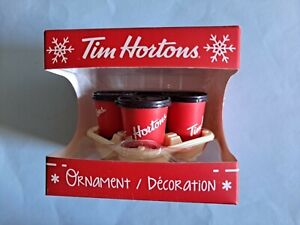 NEW NIB TIM HORTONS Coffee Carry Out Tray Cup holiday Christmas ORNAMENT 2018