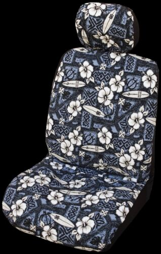 Gray Hibiscus Surf Hawaiian Separate Headrest Cover Set of 2