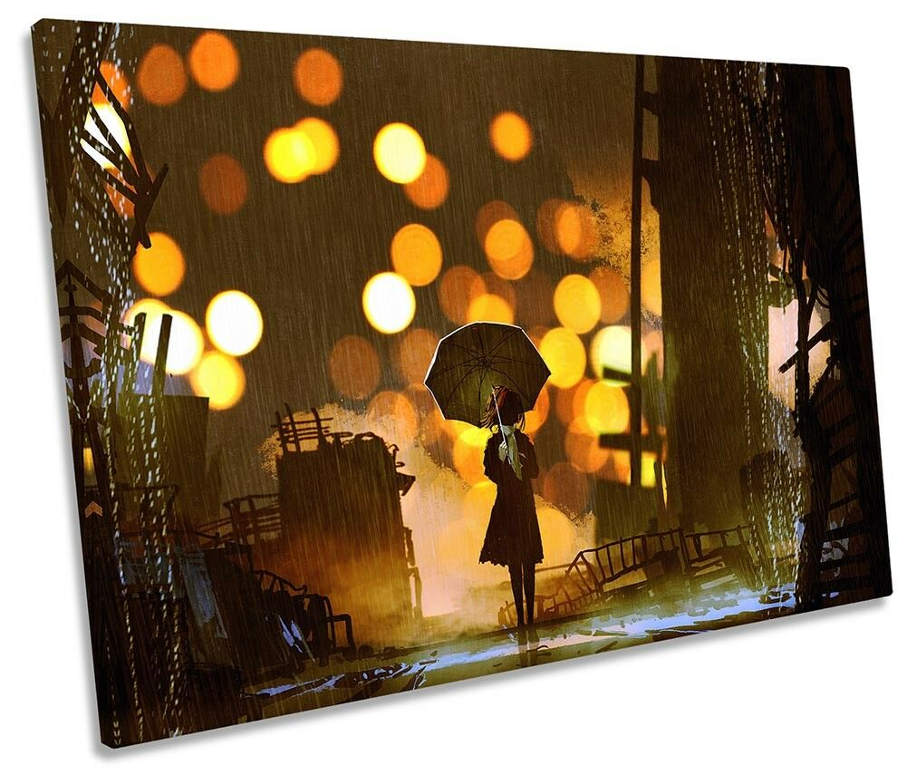 braun Umbrella City Life SINGLE CANVAS WALL ARTWORK Print Art