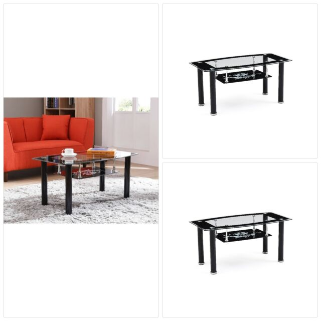 Hodedah Two Tier Rectangle Tempered Glass Coffee Table Black Ebay