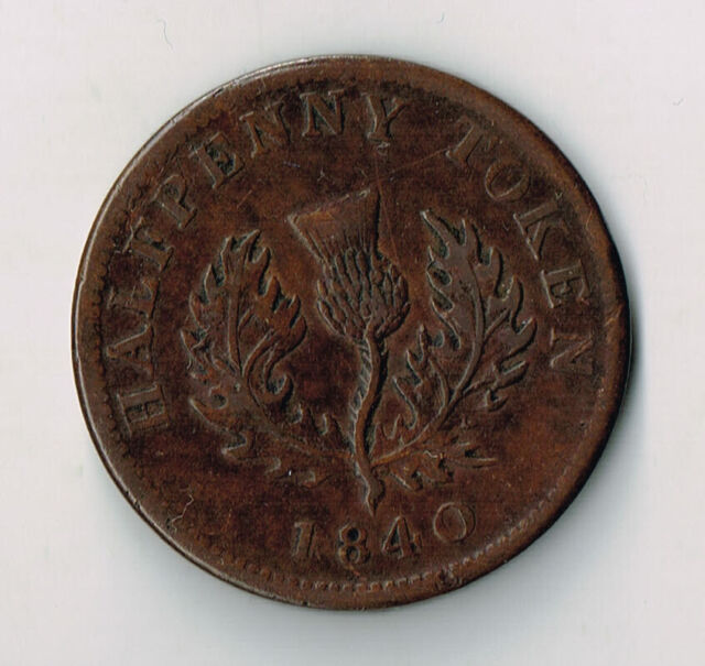 1840 PROVINCE OF NOVA SCOTIA HALF PENNY TOKEN - NS1E2 'MEDIUM 0'