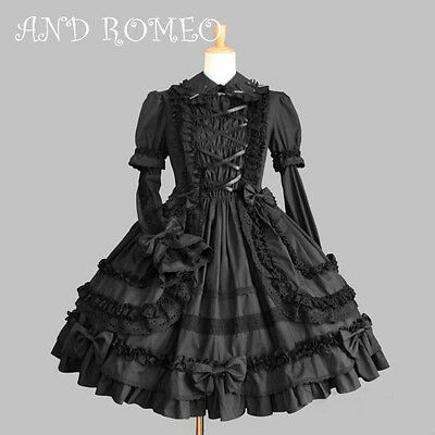 Ladies Black Long Sleeve Ruffles Layered Lace Lolita Gothic Punk Cosplay Dress