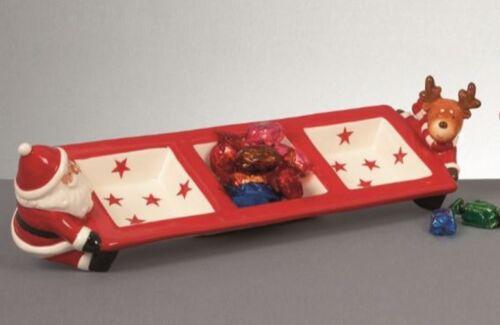 Christmas 40cm Ceramic Triple Dip Dish 3 Section Serving Plate Santa Reindeer
