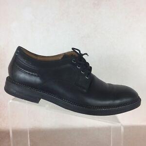 b12878425d CLARK B46 Black Leather Casual Plain Toe Lace Up Oxfords Men s Shoes ...
