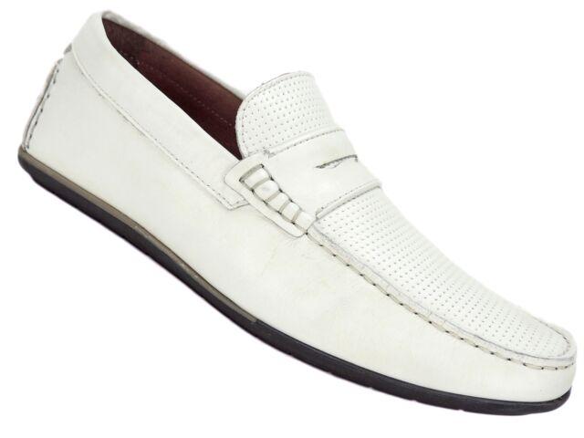 59b1c2a868f35 Alfani Men s Will Penny Drivers White Leather Size 7 M   eBay
