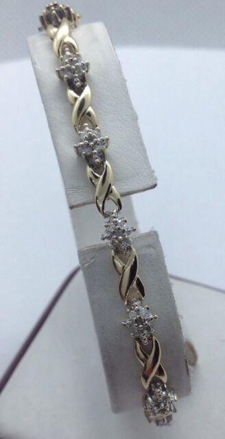 "10k Solid Yellow Gold Diamond ""X & O"" Tennis Bracelet  7""  6.8Grams"