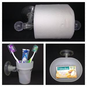 Accessori Da Bagno Con Ventosa.Dettagli Su Set 8 Accessori Da Bagno Con Ventosa In Plastica Trasparente