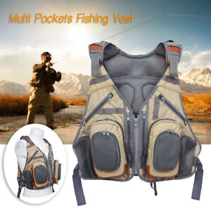 Lure Fly Fishing Vest Adjustable Mutil-Pocket Waistcoat ...