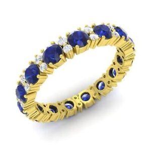 1.95 Ct Round Diamond Blue Sapphire Wedding Eternity Band 14K Yellow Gold Size 4