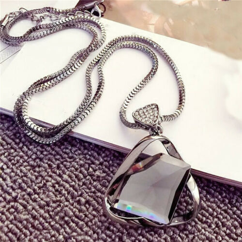Geometry Crystal Rhinestone Pendant Necklace Sweater Long Chain Necklace Jewelry