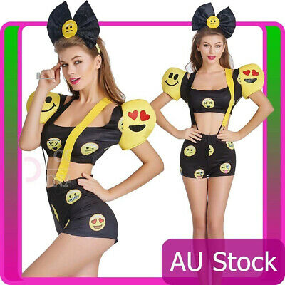 Ladies Happy Face Emoji Jumpsuit Halloween Party Fancy Dress Costume Outfit
