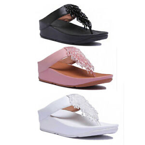 e72ce6df3fa7 Fitflop Rumba Women Leather Matt Dusky Pink Toe Thong Sandals Size ...