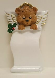 Angel Bear Scroll Personalized Christmas Tree Ornament Holiday
