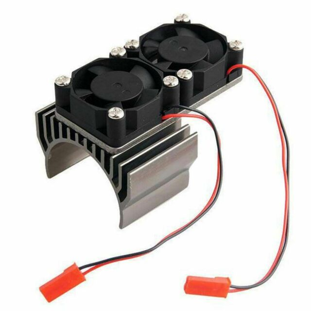 Black 60MM Alloy 540 550 Motor Heatsink N10111 With 2 Fans For RC1:10 Scale Car