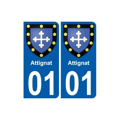 01 Attignat Ville Autocollant Plaque Sticker - Angles : Arrondis