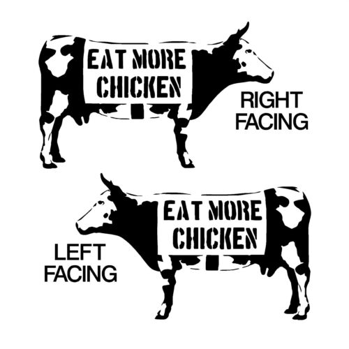 BANKSY STYLE COW EAT MORE CHICKEN vinyl wall art sticker decal