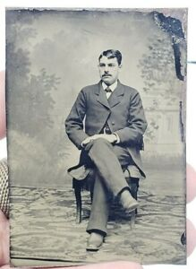 Antique-Victorian-Tintype-Photograph-Hand-Painted-Blush-Man-on-Chair-Mustache