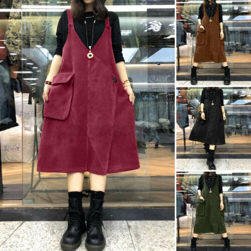 Womens Retro Corduroy Casual Loose Sleeveless Short Tunic Shirt Dress Plus Size