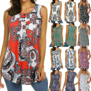 Womens-Sleeveless-Print-O-Neck-Blouse-Shirt-Casual-Flare-Summer-Tunic-Tank-Tops