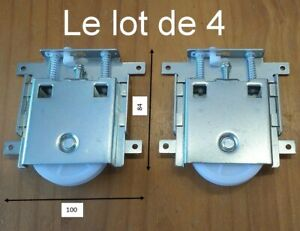 4 galets roulettes robustes porte coulissante placard armoire dressing,réglable