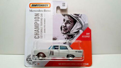 MATCHBOX /'62 MERCEDES-BENZ 220 SE SEDAN EWY ROSQVIST GREY #1//64 100//100 NEW
