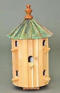 Cedar Bird house copper patina top 10 holes 26 inches Tall Amish Made USA
