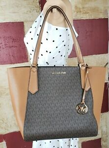 Details about MICHAEL KORS KIMBERLY LARGE BONDED PVC LEATHER TOTE BAG MK BROWN ACORN