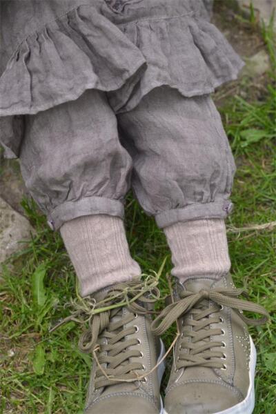 100% Verdadero Jeanne D 'arc Living Pantalones De Lino Para Niños Pantalones De Lino Dust Grey Suecia Casa-ver