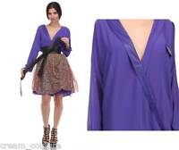 Tov Holy vavoom Purple V Neck Wrap Blouse W/ Vented Sleeves Msrp $76