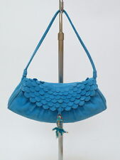 Celine Bag Mini Scalloped Suede Flap with Fish Charm Blue