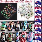 24Sheet Nail Stickers Foil 3D Diamond Art Transfer Manicure Tip Decal Decoration