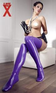 Bas-Mixte-Latex-Lilas-Mauve-Violet-Preformes-Unisex-Purple-Stockings