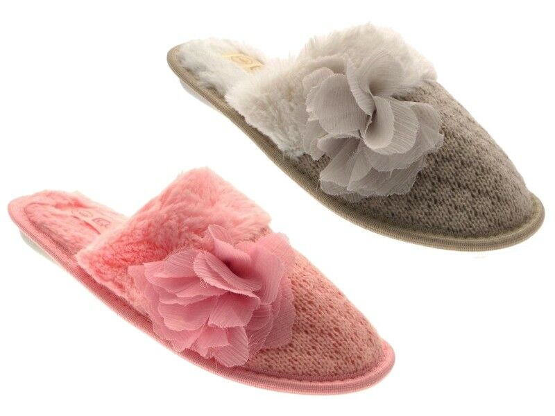 WOMENS SLIPPERS FAUX MULES SLIP ONS WARM COMFORTABLE LADIES FAUX SLIPPERS FUR WOOL SIZE 555052