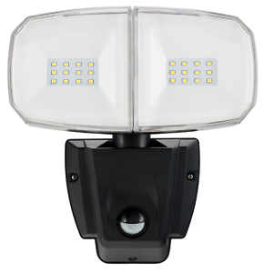 Luz de Seguridad LED Brilliant COMMANDER Doble Con Sensor 13W 1200 lúmenes Negro