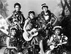 "1907 5 Hawaiian Female Musicians & Dancers Old Photo 8.5"" x 11"" Reprint"