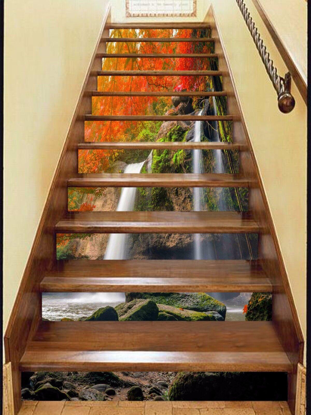3D baisse des flux de 3 Escaliers De Contremarches Décoration Photo Murale Autocollant Vinyle Papier Peint US