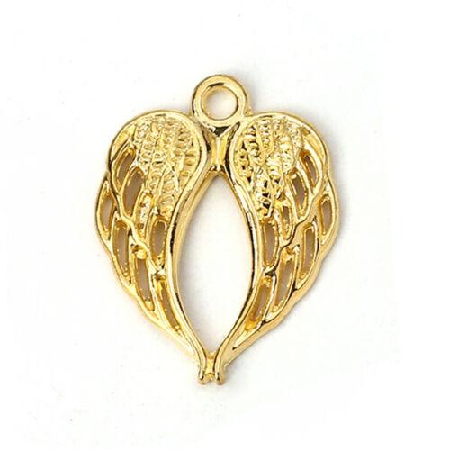 50 Stück  Anhänger für Halskette Kette Flügel Vergoldet  22*17mm