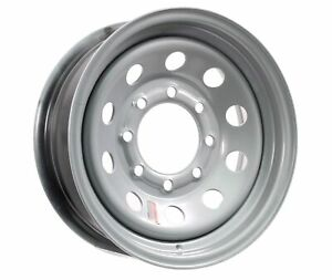 Equipment Trailer Rim Wheel 16 in. 16X6 8 Hole Bolt Lug Silver Modular Design