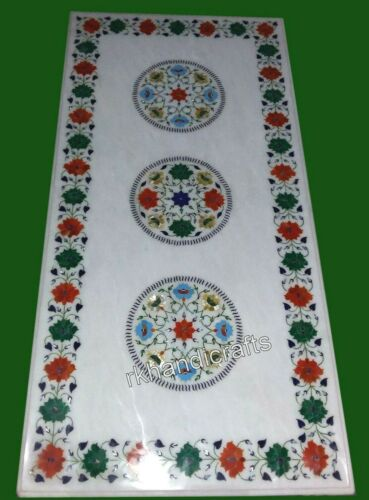 24 x 60 Inches Marble Coffee Table Top Inlay Dinette table with Multi Stone Art