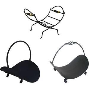 Log Holder Black Fireplace Wood Firewood Steel Carrier Basket Rack Accessory