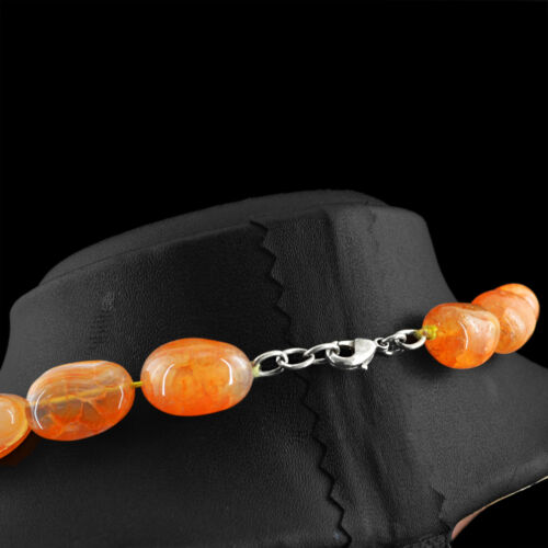 RS 511.00 CTS NATURAL UNTREATED ORANGE ONYX BEADS NECKLACE FREE SHIPPING