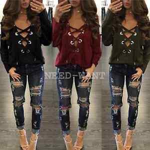 Womens-Casual-Long-Sleeve-Lace-Up-Shirt-Deep-V-Pullover-Sweatshirt-Tops-UK-6-16